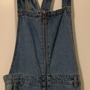 Jean overalls with front zipper